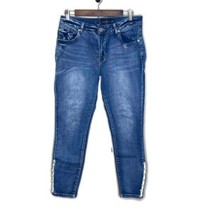 One5One women's distressed denim blue jeans 12